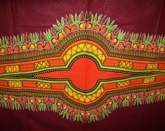 Burgundy Dashiki Fabric 6 yards wholesale/ Dashiki clothing/ Wide panel dashiki/ Dashiki Skirt/ Dashiki Shirt fabric/ Dashiki fabric