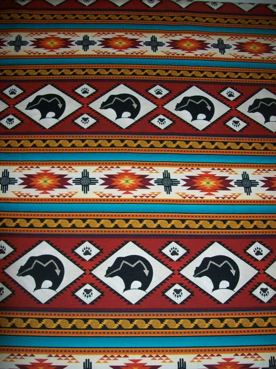 Per Yard Terracotta Color Tribal Print Fabric/Designed for