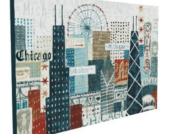 36x24 Hey Chicago, City Skyline, Gallery-wrapped Canvas