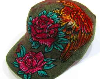 Hand Painted Hawk with Rose Tattoo Military Khaki Vintage Hat with Pink Dust spot
