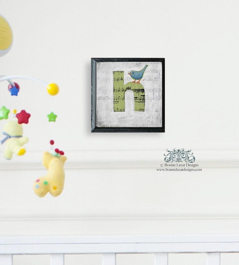 Bird nursery alphabet letters wall decor alphabet art block for Alphabet mural nursery