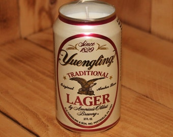 Hand Poured Soy Candle in Handmade Upcycled Yuengling Lager Beer Can