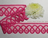 Fuchsia Lace Trim 12 Yards Scalloped 1-1/4 inch wide Lot M90C Added Items Ship No Charge