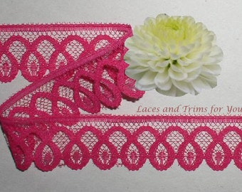 Fuchsia Lace Trim 12/24 Yards Scalloped 1-1/4 inch wide Lot M90C Added Items Ship No Charge