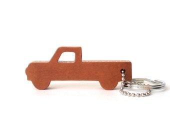 Pickup Truck Silhouette Key Chain Wood Scroll Saw Outline Vehicle Keychain Pickup Key Ring Truck Key Fob Cherry