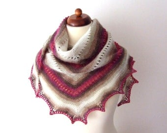 triangle scarf, handknitted, soft warm and cozy, pink brown ecru
