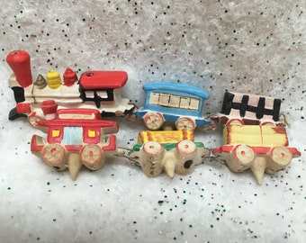 Vintage Cake Train Candle Holders MG Japan 6 Pieces Bright Colors