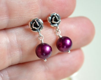 Plum Flower Girl Earrings, Real Freshwater Pearl, Child Children Girl, Sterling Silver, Rose Ear Posts, Wedding Party Jewelry