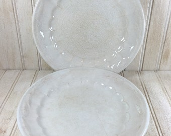 2 Vintage Shabby Chic W & E Corn Wheat Patterned Plates