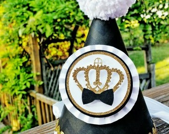 Black Tie Party Hat | Prince Party | King Party Hat | 1st Birthday| Black Chevron | Little Prince Birthday | Golden Crown | Boy Birthday