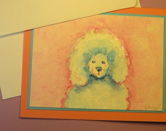 "TOY POODLE CARD, Original Handmade Watercolor (""Blank Inside"")"