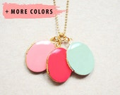 Statement Necklace - Enameled Pair of Oval Lockets - Your Color Choice