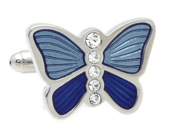 Blue Butterfly with Crystal Cufflinks