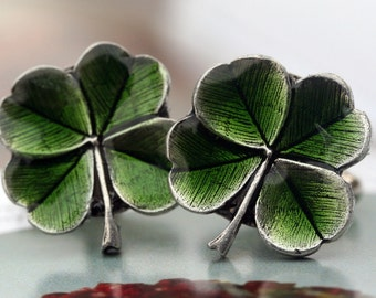 Four Leaf Clover Cufflinks Irish Mens Cuff links Shamrock Irish Luck Irish Wedding Cuff links Mens Accessories  Clover Claddagh Cufflink