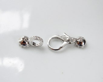 Sterling silver lobster clasp  set with cz (11x22 mm lobster clasp,  9mm ring , caps: 11x8mm)