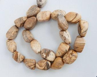 Picture jasper smooth nugget beads   (17-20x12-13mm) , picture jasper nugget