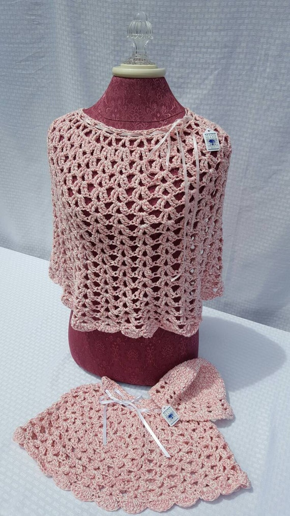 Crochet mother and daughter ponchos in varigated pink with childs crochet matching cap-READY TO SHIP