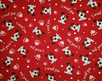 Custom Made Belly Band for Your Male Dog by SewDog 100% Cotton #091 I WOOF YOU on Red  3-Layers Padded Quilted Diaper Wrap