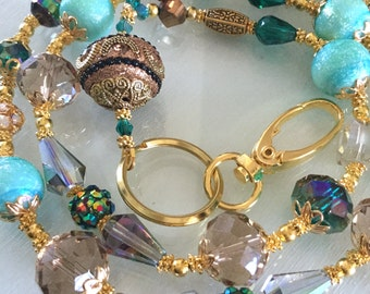Handmade Beaded Turquoise and Gold Crystal Lanyard