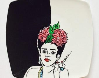 Frida Kahlo Smoking Decorative Plate