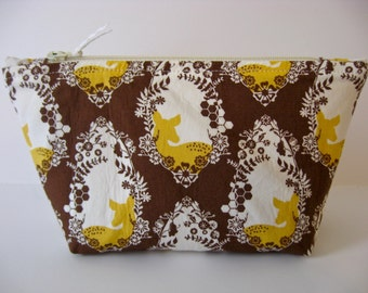 Woodland Deer Portrait Small Cosmetic Bag, Zipper Pouch, Pencil Case, Toiletry Bag, Travel Bag, Dopp Kit