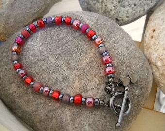 Ruby Czech Glass and Hematite Beaded Bracelet