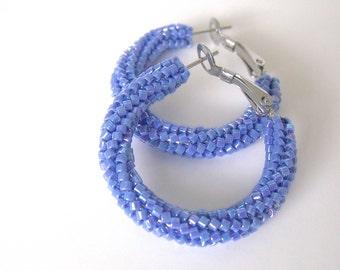 Twisted woven beaded blue hoops  | woven earrings | blue beaded jewelry | beaded hoops | glass beaded earrings