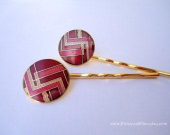 Vintage earrings hair clips - Modern retro contemporary art deco red gold enamel geometric stripes bar decorative embellish hair accessories