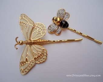Vintage brooch hair pin - Nature garden beige enamel butterfly rhinestone studded bee gold fun embellish jeweled decorative hair accessories