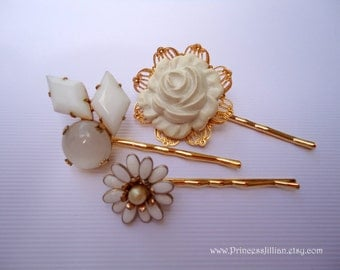 Vintage earring hair slides - White milk glass satin moonstone resin enamel floral unique gold jeweled embellish decorative hair accessories