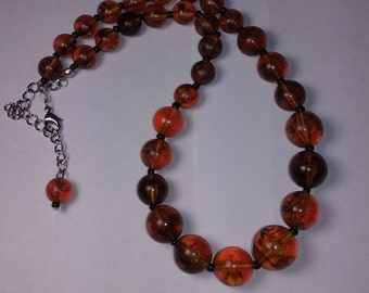 Vintage Amber Lucite Beaded Necklace and earrings