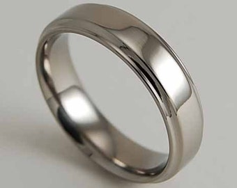 Mens Wedding Band , Titanium Ring ,  Neptune with Comfort Fit