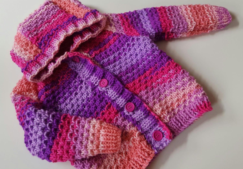 Baby Knitting Pattern Toddler Girls or Boys Hooded Cardigan