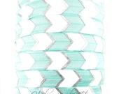 Aqua Silver Arrow Fold Over Elastic- Fold Over Elastic, Hair Elastic Bracelet, Elastic, Hair Elastic Ties, Elastic Ribbon, Elastic Hair Band