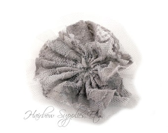 Gray Vintage Lace 3 inches - Gray Lace Flower, Gray Flower Headbands, Gray Lace For Babies, Gray Vintage Lace Trim, Gray Vintage Lace