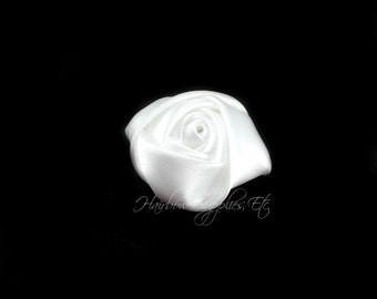 White Mini Satin Rolled Flowers Rosettes 1-1/2 inch - White Fabric Flowers, White Hair Flowers, White Silk Flowers, White Hair Accessories