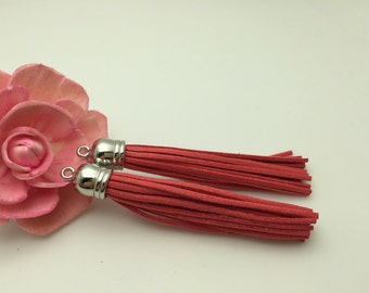50 Pieces 86x12MM Watermelon Red Color Faux Suede Leather Tassel With Plastic Silver Top Cap,Phone Accessories, Necklace Tassel Pendant