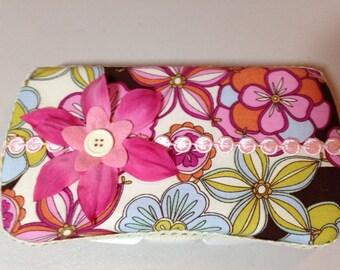 Flowered diaper wipes case/ clutch