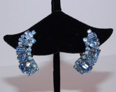 "Reserved BEAUTIFUL BLUE VINTAGE Earrings - Almost 1-1/2"" - All Prong Set"