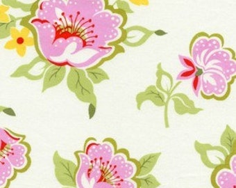 Heather Bailey - Nicey Jane - Church Flowers in Pink - pink green red large print floral - cotton quilting fabric - choose your cut