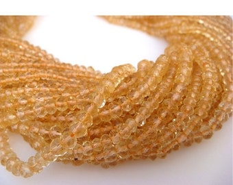 55% ON SALE Citrine - Citrine Micro Faceted Rondelles - 3mm Each - 13 Inch Strand