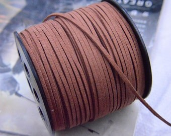 10 yards Coffee Faux Suede Cord, Faux Leather cord, Flat String cord for Jewelry & Crafts 2.5x1mm