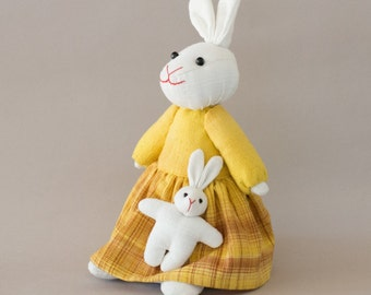 Mother and child bunny-Yellow