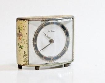 Vintage Seth Thomas Clock Floral Painted Mechanical Clock Mid Century Cottage Decor