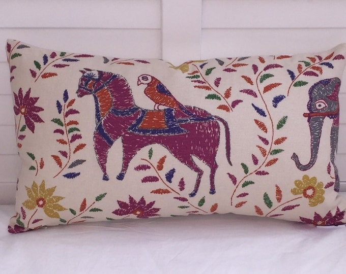 Horse and Bird Designer Pillow Cover -  Square, Lumbar and Euro Sizes