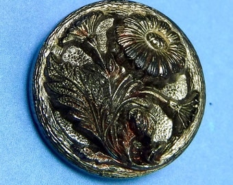 Vintage Glass Button Hematite Floral Ornate Vintage Button 368