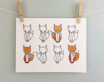 Foxes Illustration Cute Fox Print Kid's Room Decoration Woodland Nursery Art Children's Wall Art Baby Gift Original Pen and Watercolor Print