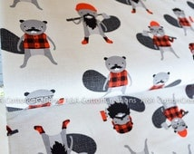 Quilting Cotton, Burly Beavers Fabric, Red Grey Fabric, Hipster fabric, Boy Fabric, Apparel Fabric, Robert Kaufman Fabrics