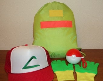 Ash Ketchum Trainer  Drawstring bag,  Hat and Gloves and Ball set  Halloween costume Pokemon Choose your Size