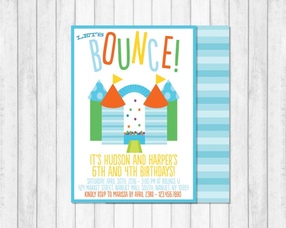 Bounce House Invitation, Bounce House Birthday Invitations, Bounce House Party, Tumbling Party, Jumping Party Invitation, Boy Birthday